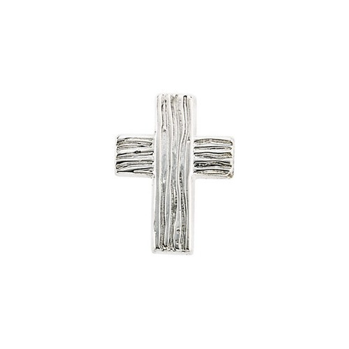 14Kt White Rugged Cross Lapel Pin 13X10