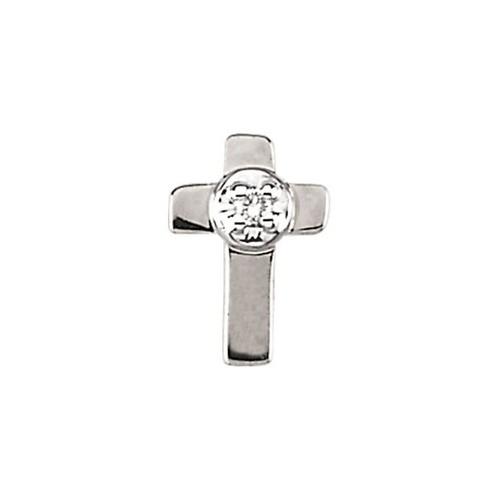 14Kt White Cross Lapel Pin w/ Diamond 09X07