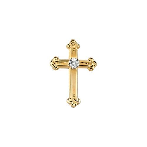14Kt Yellow Polished Cross Lapel Pin w/ White Diamond 15x10.50