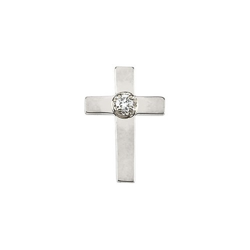14Kt White Cross Lapel Pin w/ Diamond 11X08