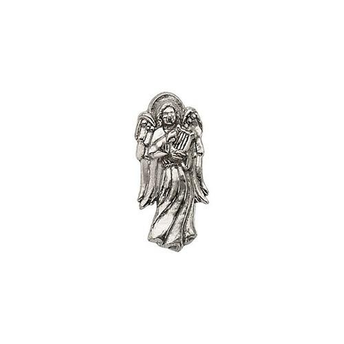 14Kt White Angel w/ Harp Lapel Pin 19X09