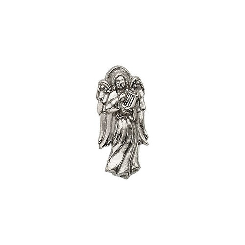 14Kt White Angel w/ Harp Lapel Pin 19X09