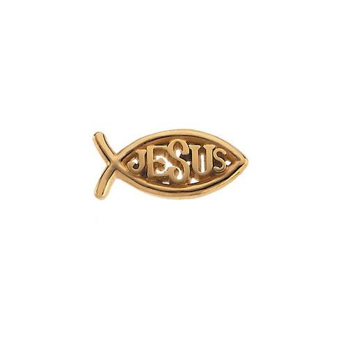 10Kt Yellow Ichthus (Fish) w/ Jesus Lapel Pin 08X18