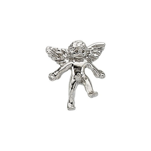 14Kt White Angel Lapel Pin 11X10