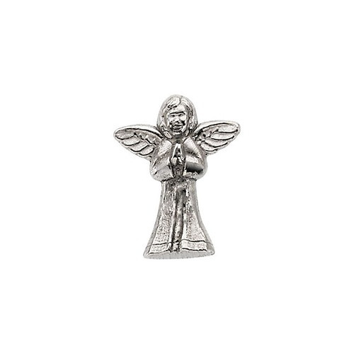 14Kt White Praying Angel Lapel Pin 12X10