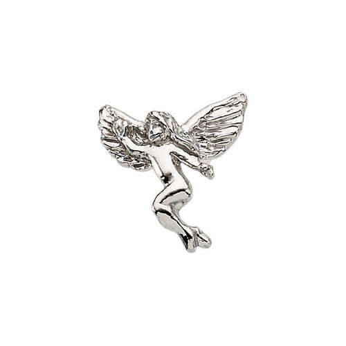 14Kt White Dancing Angel Lapel Pin 12X13