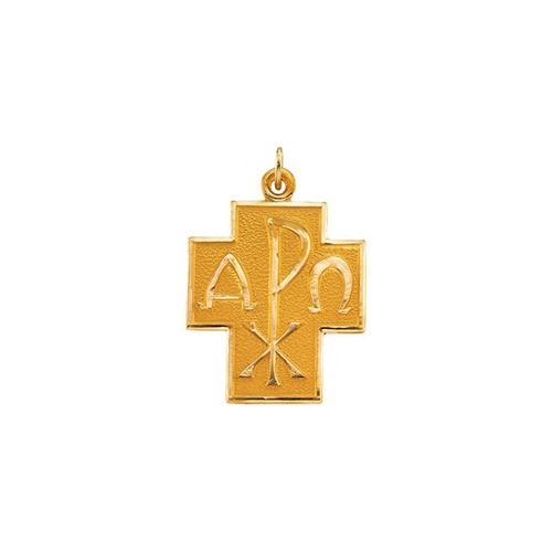 14kt Yellow Gold 24.5x22mm Alpha Omega Cross Pendant
