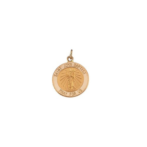 14Kt Yellow Gold 12mm Round St. John the Baptist Medal