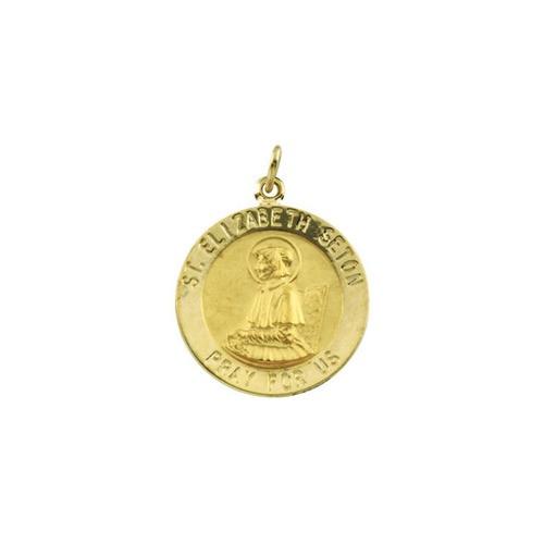 14kt Yellow Gold 18mm Round St. Elizabeth Seton Medal