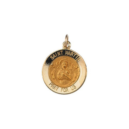 14kt Yellow Gold 15mm Round St. Martin de Porres Medal