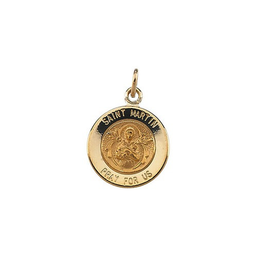 14kt Yellow Gold 12mm Round St. Martin de Porres Medal