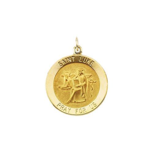 14kt Yellow Gold 22mm Round St. Luke Medal