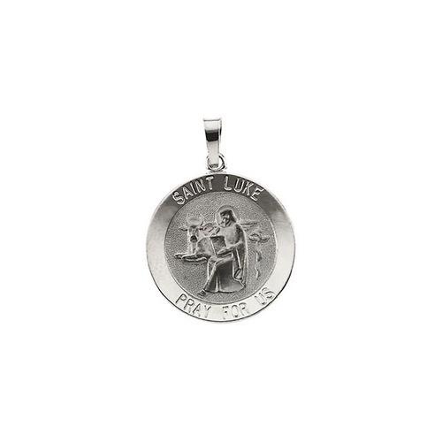14kt White Gold 15mm Round St. Luke Medal
