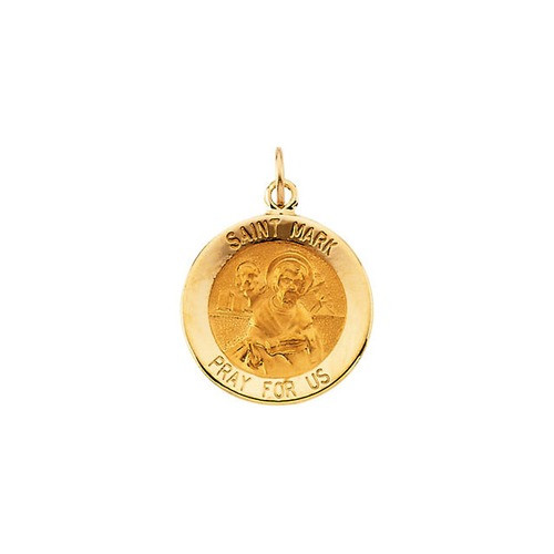 14kt Yellow Gold 15mm Round St. Mark Medal