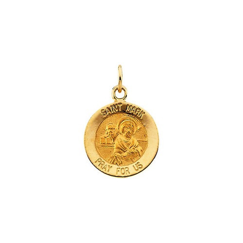 14kt Yellow Gold 12mm Round St. Mark Medal