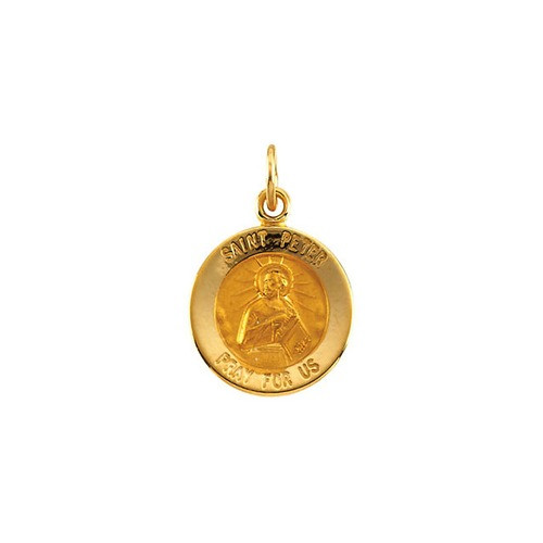 14kt Yellow Gold 12mm Round St.Peter Medal