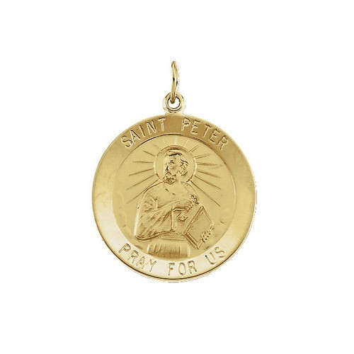 14kt Yellow Gold 25mm Round St.Peter Medal