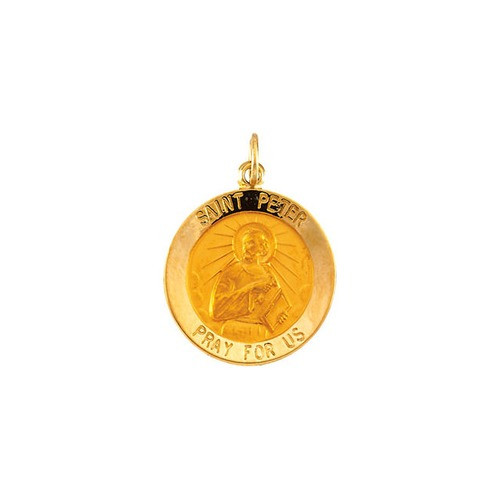 14kt Yellow Gold 18mm Round St.Peter Medal
