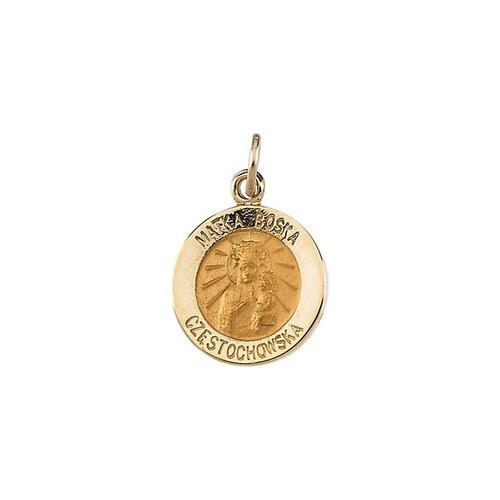 14kt Yellow Gold 12mm Round Matka Boska Medal