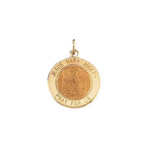 14kt Yellow Gold 15mm Round Jesus, Mary and Joseph Medal