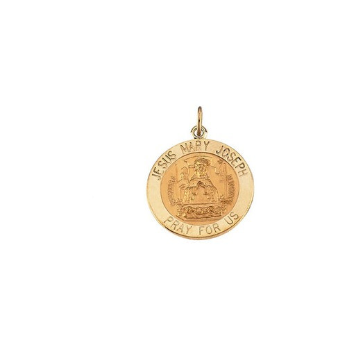 14kt Yellow Gold 12mm Round Jesus, Mary and Joseph Medal