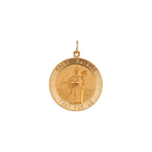 14kt Yellow Gold 25mm Round St.Patrick Medal