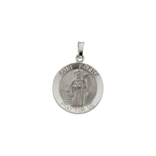 14kt White Gold 18mm Round St.Patrick Medal