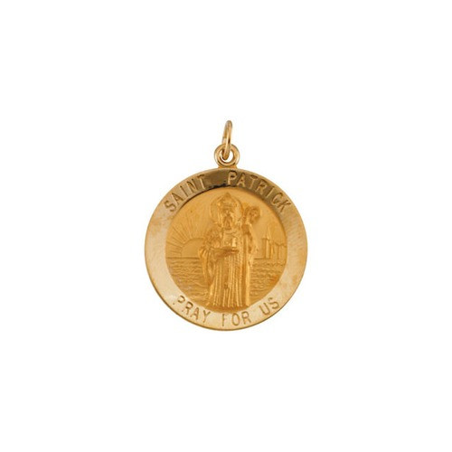 14kt Yellow Gold 22mm Round St.Patrick Medal