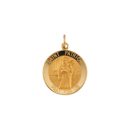 14kt Yellow Gold 18mm Round St.Patrick Medal
