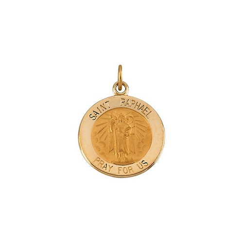 14kt Yellow Gold 15mm Round St.Raphael Medal
