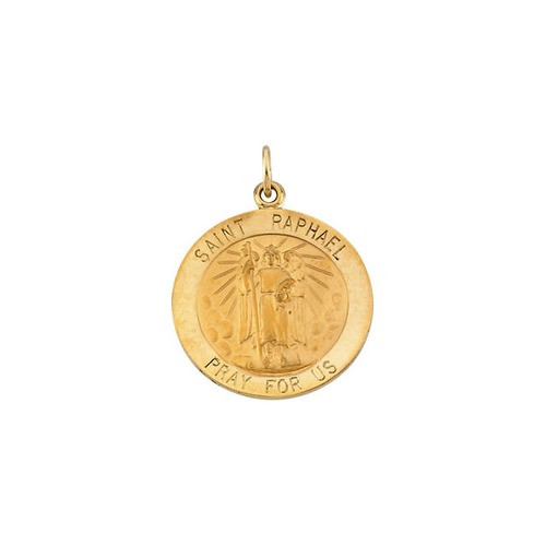 14kt Yellow Gold 22mm Round St.Raphael Medal