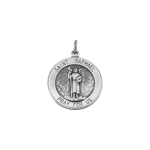 "Sterling Silver 18mm Round St.Raphael 18"" Necklace"