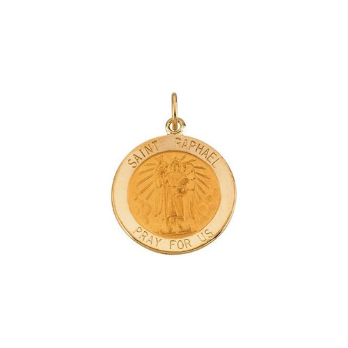 14kt Yellow Gold 18mm Round St.Raphael Medal