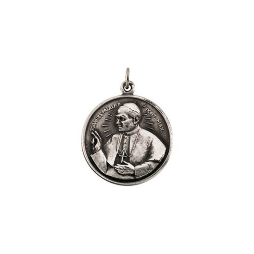 """Sterling Silver 20.5 Round Pope John Paul II 18"""" Necklace"""