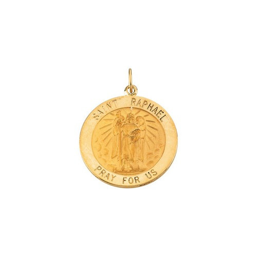 14kt Yellow Gold 25mm Round St.Raphael Medal