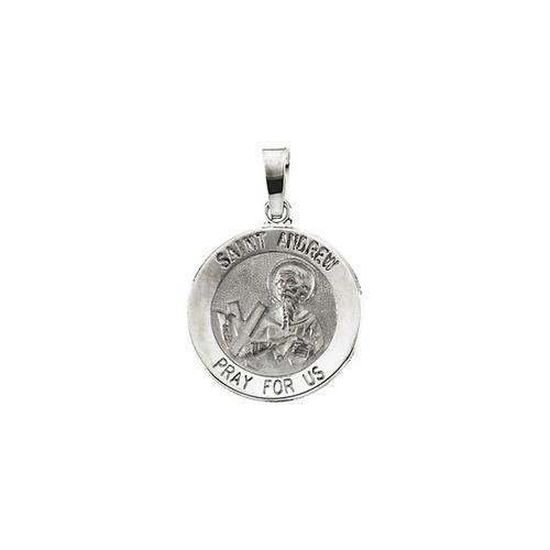 14kt White Gold 15mm Round St. Andrew Medal