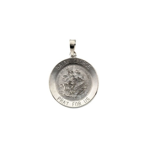 14kt White Gold 18mm Round St. George Medal