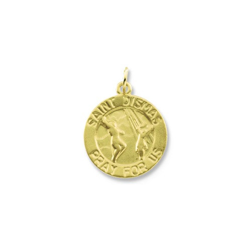 14kt Yellow Gold 15mm Round St. Dismas Medal