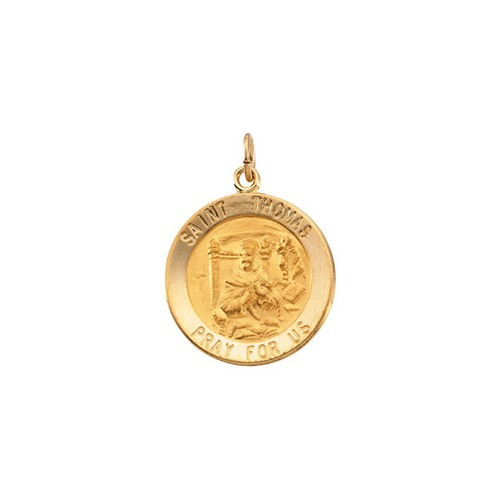 14kt Yellow Gold 18.25mm Round St. Thomas Medal
