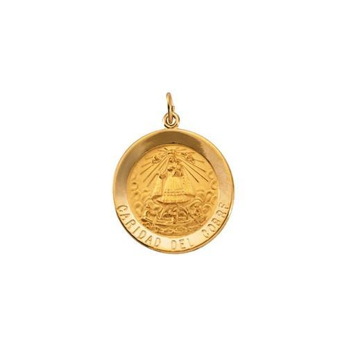 14kt Yellow Gold 25mm Round Caridad del Cobre Medal