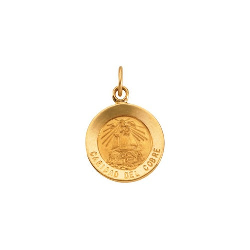 14kt Yellow Gold 12mm Round Caridad del Cobre Medal