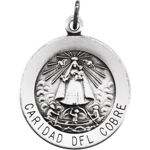 Sterling Silver 18.25mm Round Caridad del Cobre Medal