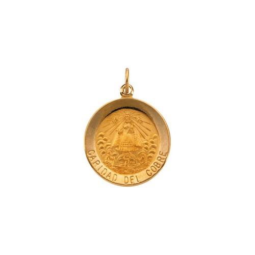 14kt Yellow Gold 18.25mm Round Caridad del Cobre Medal