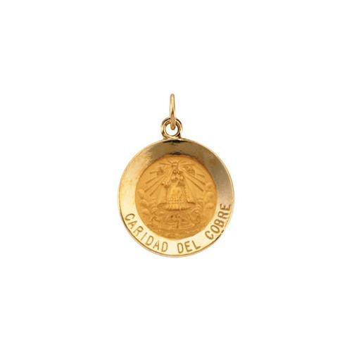 14kt Yellow Gold 15mm Round Caridad del Cobre Medal