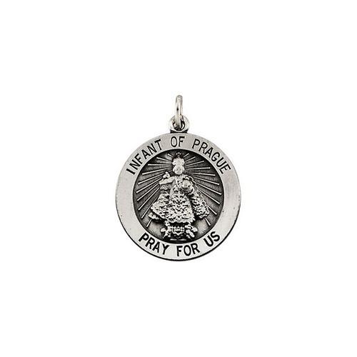 Sterling Silver 18.5mm Round Infant of Prague Medal
