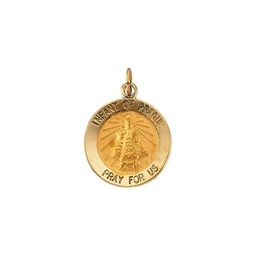14kt Yellow Gold 15mm Round Infant of Prague Medal