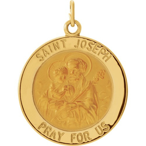 14kt Yellow Gold 22mm Round St. Joseph Medal