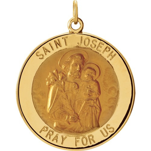 14kt Yellow Gold 25mm Round St. Joseph Medal