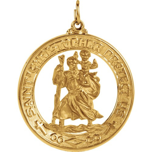 14Kt Yellow Gold 29mm St. Christopher Medal