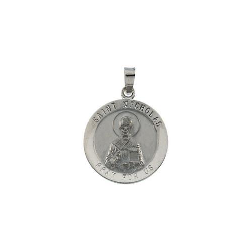 14kt White Gold 18.25mm St. Nicholas Medal